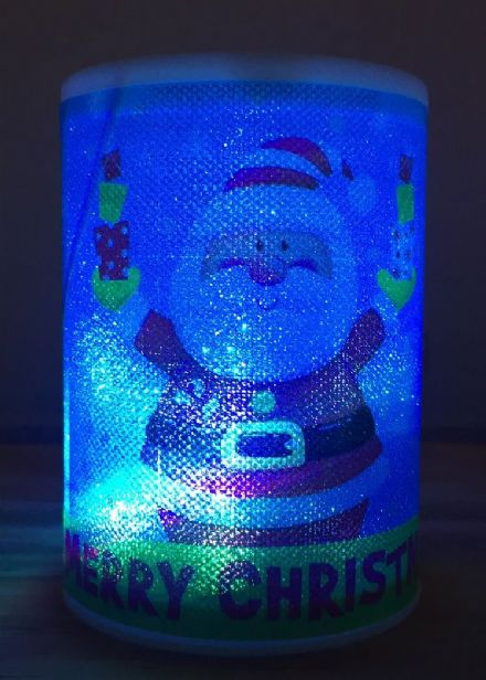 LED Battery Operated Colour Changing Christmas Candle ~ Merry Xmas Santa with Gifts (F)